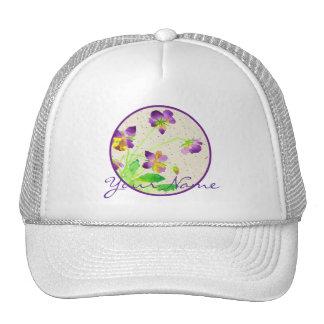 Pansies Watercolor Painting Purple Yellow Washi Trucker Hat