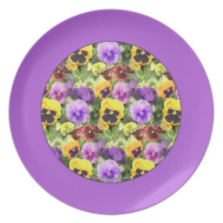 Pansies Watercolor Purple Border Party Plates