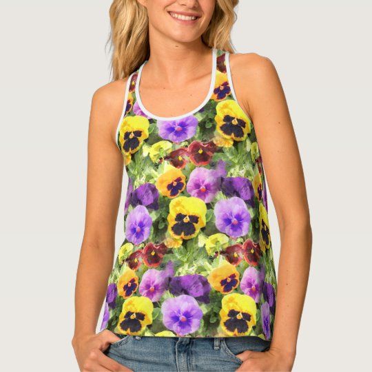 Pansies Watercolor Tank Top