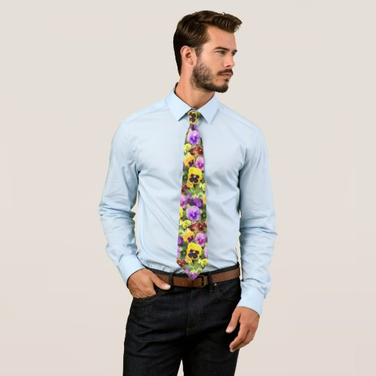 Pansies Watercolor Tie