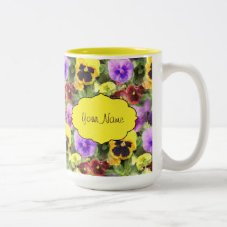 Pansies Watercolor Two-Tone Coffee Mug