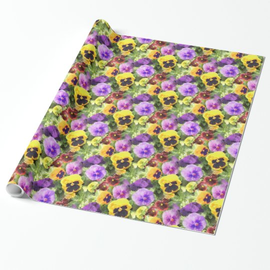 Pansies Watercolor Wrapping Paper