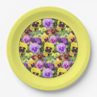 Pansies Watercolor Yellow Border 9 Inch Paper Plate