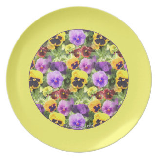 Pansies Watercolor Yellow Border Party Plate