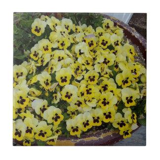 Pansies Yellow Black Tiles