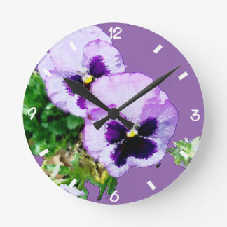 pansy16watercolor7-21 round clock