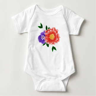 Pansy and Chrysanthemum Flower Bouquet Bodysuit