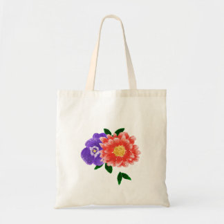 Pansy and Chrysanthemum Flower Bouquet Tote