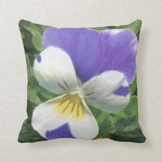 Pansy and Purple Asters Throw Pillow
