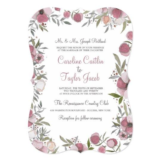 Pansy Blossoms Wedding Invitation