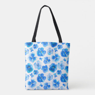 Pansy blue flower watercolor art bag