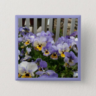 Pansy Blues Fence 2 Inch Square Button