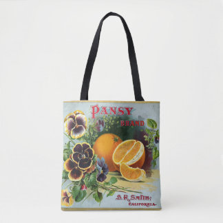 Pansy Brand Orange Crate Label Tote Bag