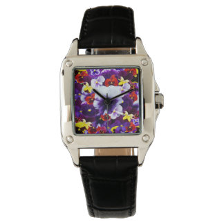 Pansy Celebration, Ladies Square Leather Watch