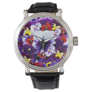 Pansy Celebration, Mens Black Leather Watch