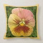Pansy Face-Peach Throw Pillow