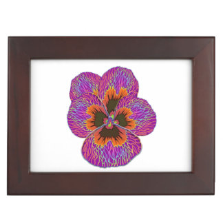 Pansy Flower Psychedelic Abstract Keepsake Box