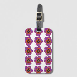 Pansy Flower Psychedelic Abstract Luggage Tag