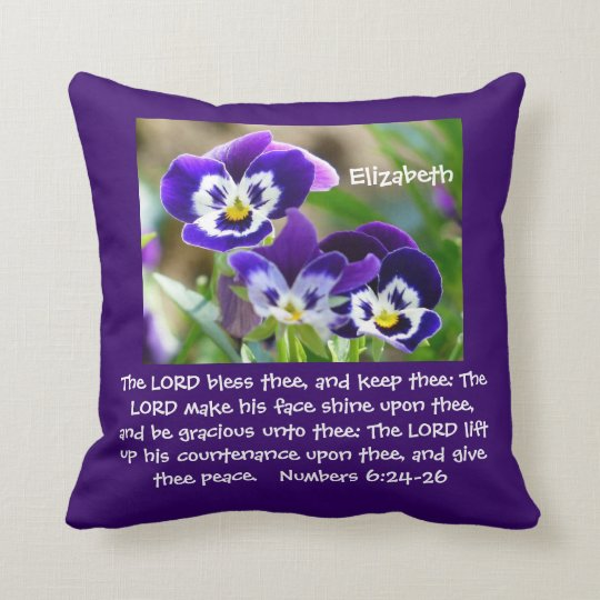 Pansy Flower & Scripture Throw Pillow
