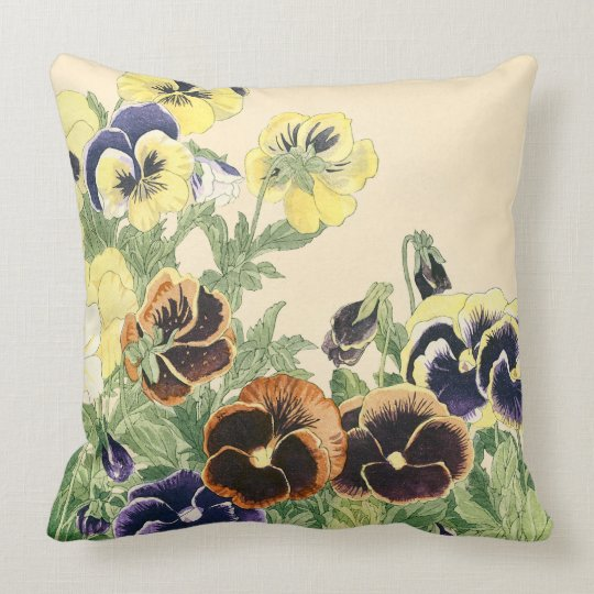 Pansy Flower Woodblock Print Throw Pillow