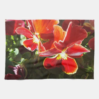 Pansy flowers kitchen towel