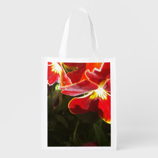 Pansy flowers reusable grocery bag