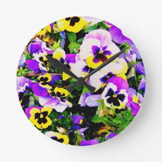 pansy flowers round clock