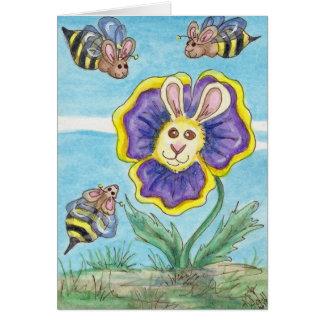Pansy Funny Bunny & Bumble Bee Fantasy Art Card