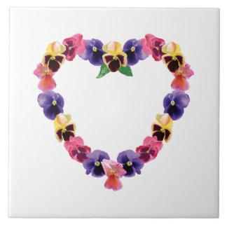 Pansy Heart Ceramic Tiles