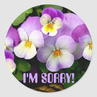 """PANSY  """"I'm Sorry!"""" ~ Envelope Sealers Classic Round Sticker"""
