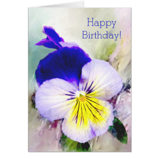 Pansy in the English Garden Birthday Greeting Card