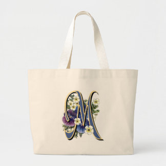 Pansy Initial - M Large Tote Bag