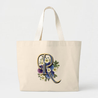 Pansy Initial - R Large Tote Bag