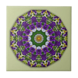 Pansy, Pansies Nature, Flower-Mandala Ceramic Tile