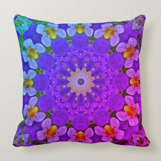 Pansy, Pansies Nature, Flower-Mandala Throw Pillow