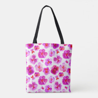 Pansy pink floral flower watercolor art bag