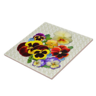 Pansy Posy  ~ Ceramic Tile