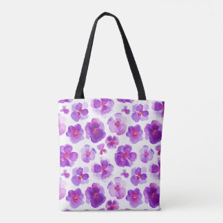 Pansy purple floral flower watercolor art bag