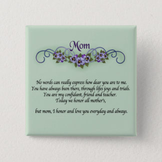 Pansy Scrolls Mother's Day 2 Inch Square Button
