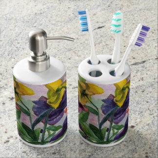 Pansy Soap Dispenser And Toothbrush Holder