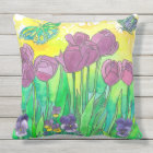 Pansy Tulip Purple Watercolor Flower Garden Throw Pillow