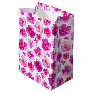 Pansy viola pink white watercolor art gift bag