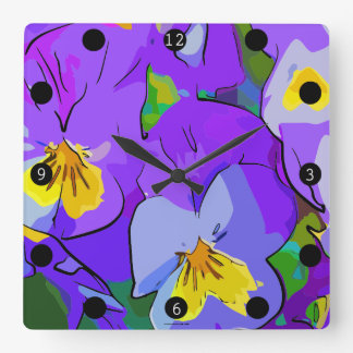 Pansy violet and yellow square wall clock