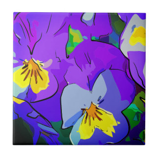 Pansy violet and yellow tile