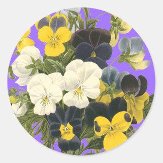 Pansy Violets Botanical Art Stickers