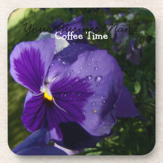 Pansy With Water Droplets; Promotional Beverage Coasters