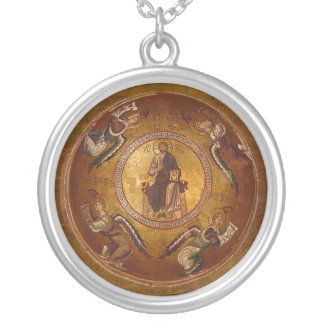 Pantakrator Christian Icon of Jesus Christ Silver Plated Necklace