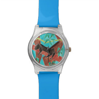 Panther Abstract Watercolor Art Watch