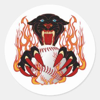 Panther-Baseball-1White-T-2 Classic Round Sticker