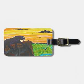 Panther on the prowl luggage tag
